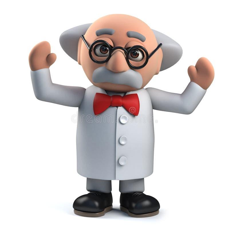 o caráter louco do professor do cientista 3d é excitado em uma descoberta ilustração do vetor