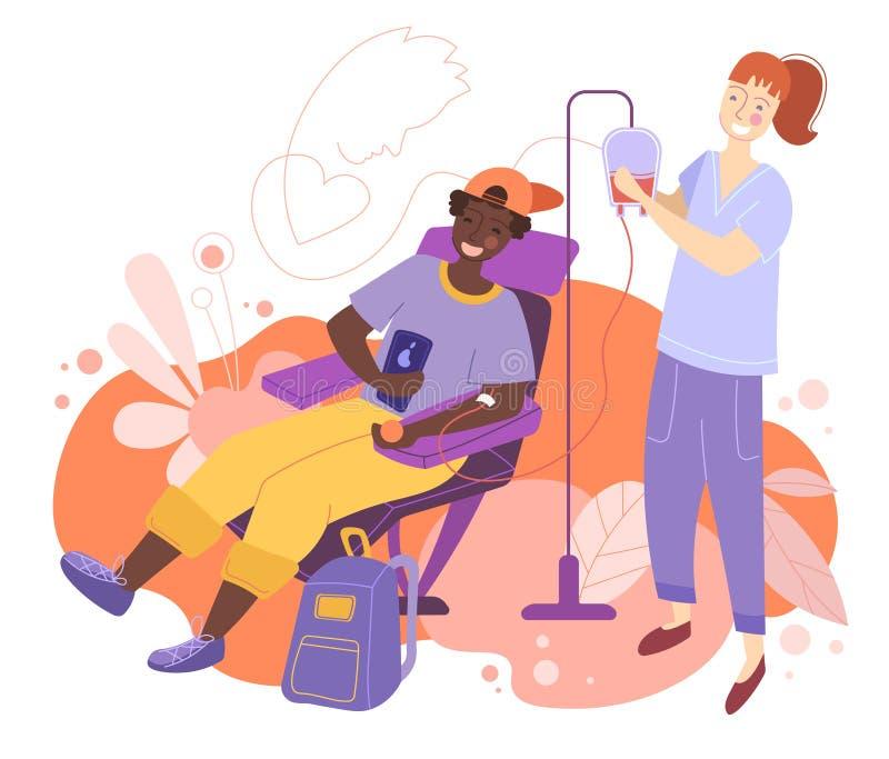O caráter masculino dos voluntários que senta-se no hospital médico preside a doação do sangue Doutor Woman Nurse Take ele em uma ilustração do vetor