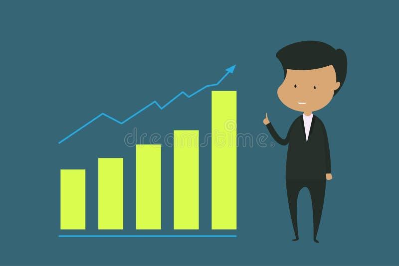 O caráter masculino veste uma posição preta do terno ilustração sobre a finança, o investimento e negócios crescentes - EPS 10 ilustração do vetor