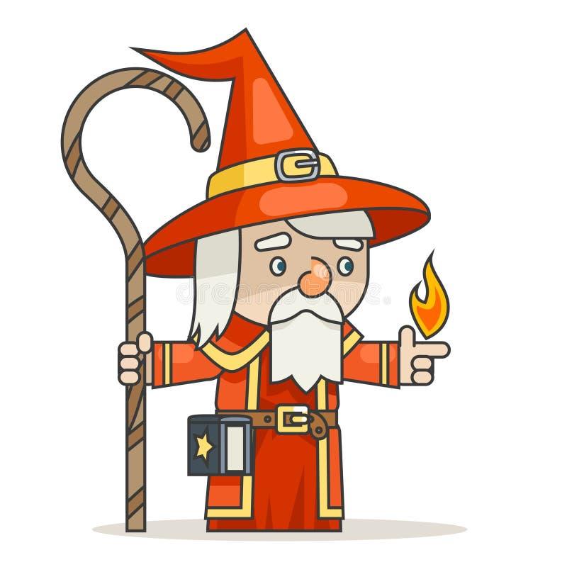 O caráter medieval do jogo do RPG da ação da fantasia do spellbook do pessoal do wiseman do mágico do feiticeiro de Mage isolou o ilustração stock