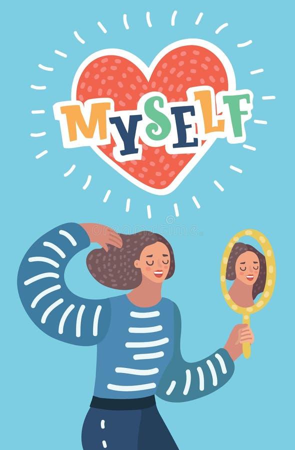 O caráter narcisístico da mulher olha no espelho ilustração do vetor