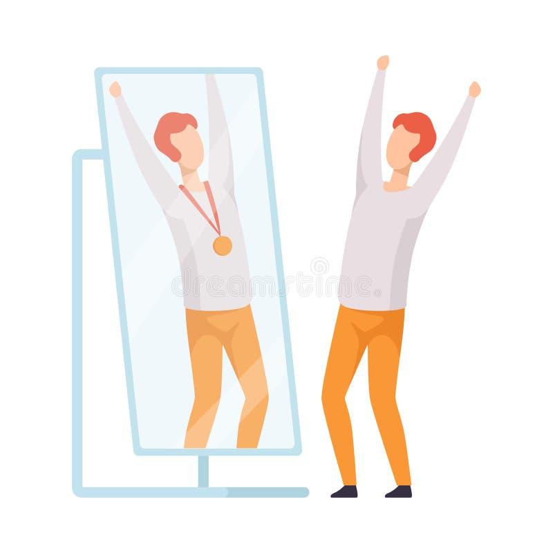 O caráter narcisístico do homem que olha o espelho e que considera na reflexão dsi mesmo com medalha de ouro, pessoa superestima ilustração stock