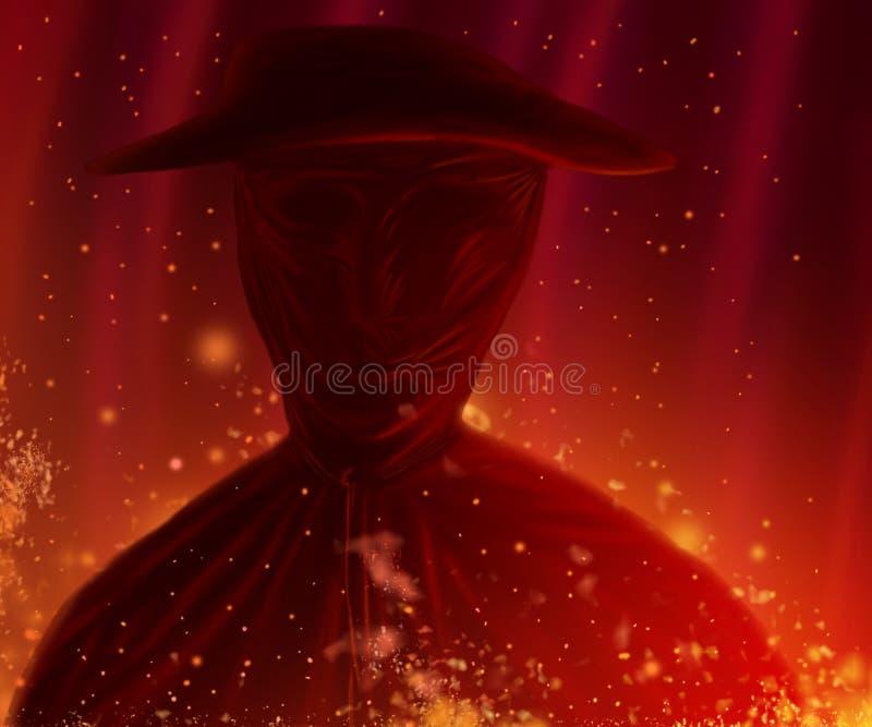 O caráter no chapéu está no fogo Retrato ardente do homem ilustração do vetor