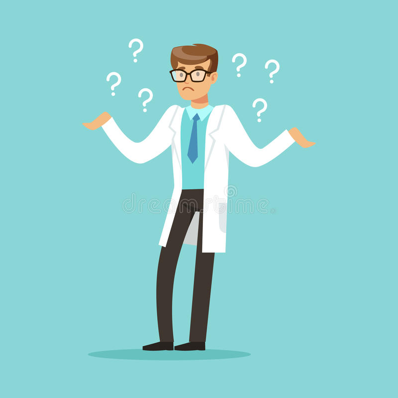 O caráter pensativo do doutor que tem muitas perguntas vector a ilustração ilustração royalty free