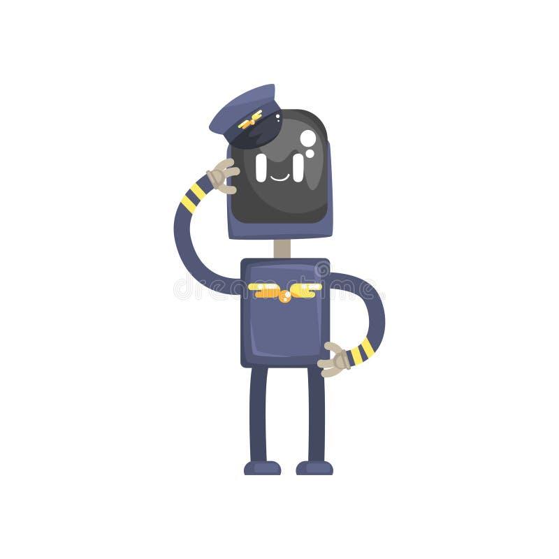 O caráter piloto do robô, o androide no uniforme azul e os desenhos animados do tampão vector a ilustração ilustração stock