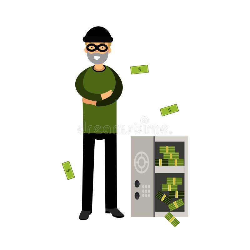 O caráter profissional do assaltante em uma máscara abriu um cofre forte com ilustração do dinheiro ilustração royalty free