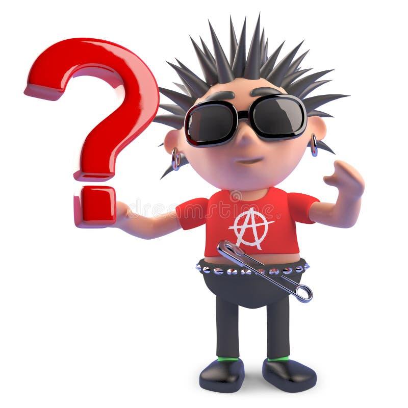 O caráter punk curioso tem uma pergunta, daqui o ponto de interrogação, ilustração 3d ilustração stock