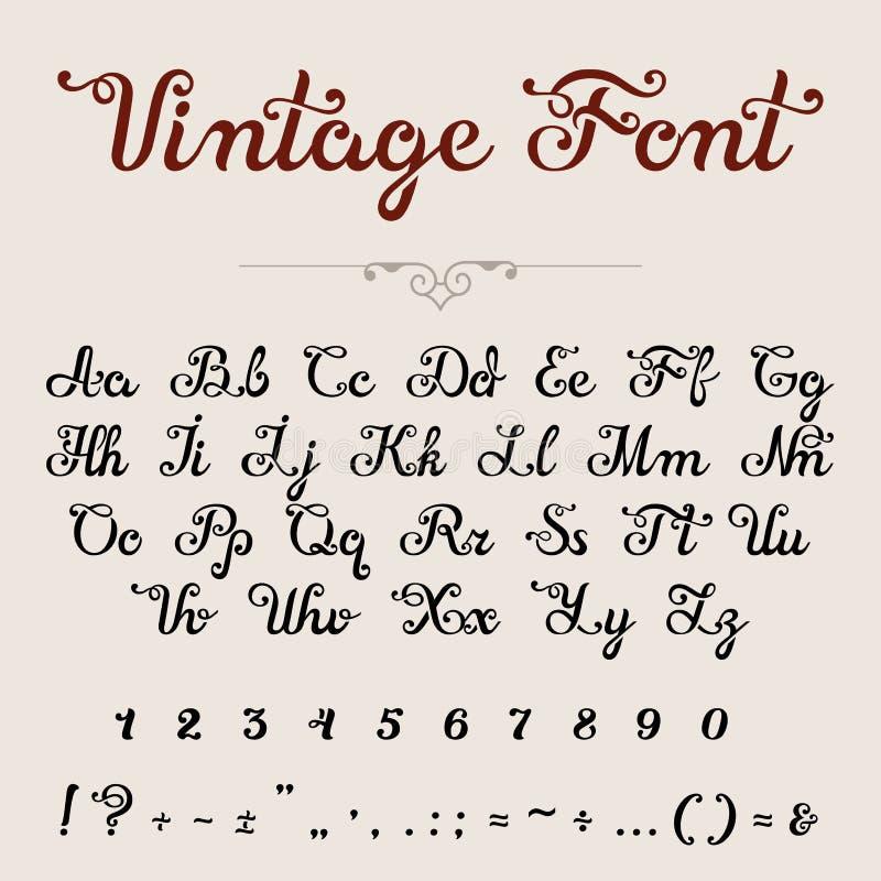 O caráter tipo caligráfico elegante da fonte do roteiro rotula números ilustração royalty free
