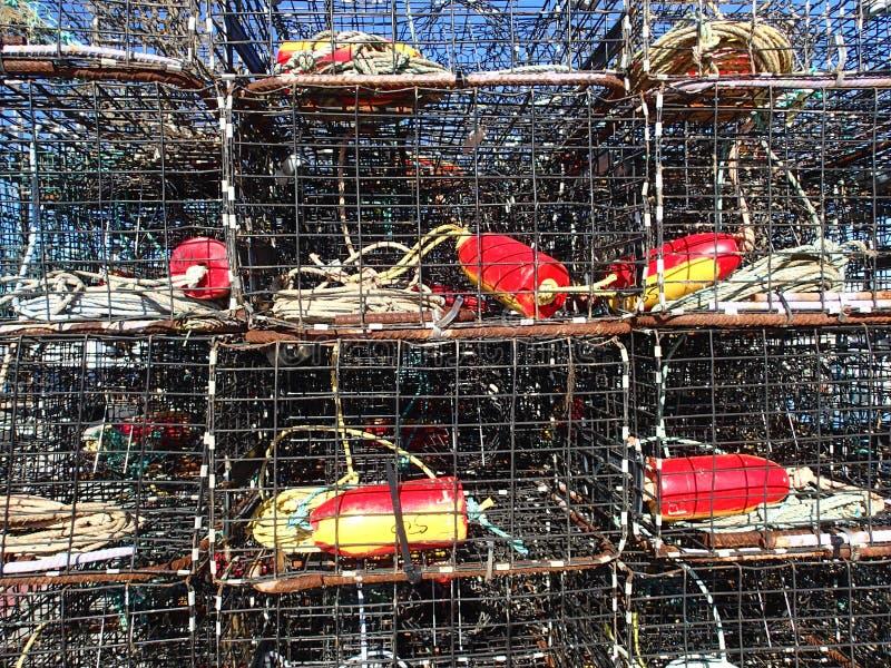 O caranguejo empilhado prende em um cais fotografia de stock