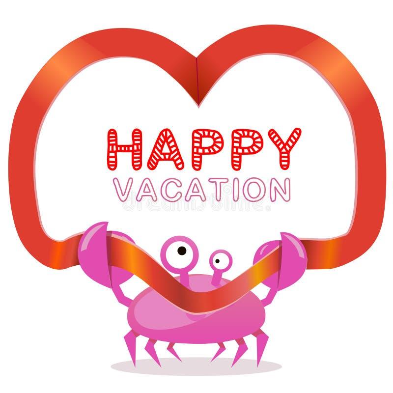 O caranguejo engraçado com fita e as férias felizes text ilustração stock