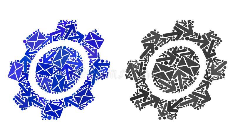 O cargo distribui ícones da engrenagem da colagem ilustração do vetor