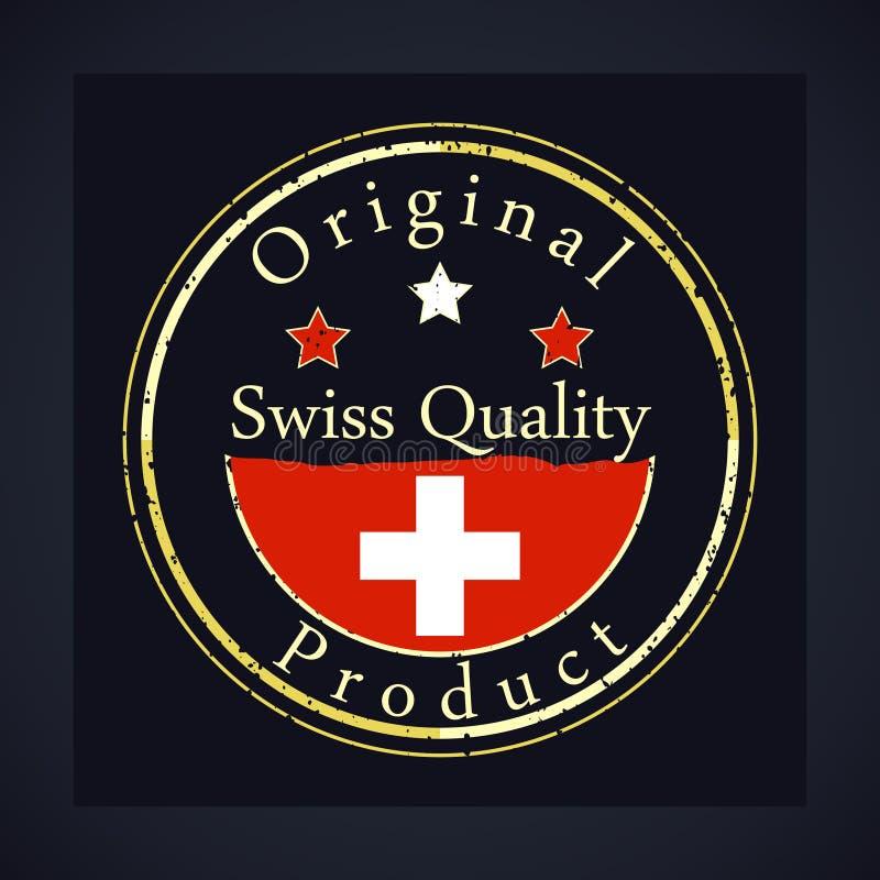 O carimbo de borracha do grunge do ouro com a qualidade suíça do texto, etiqueta o produto original ilustração stock