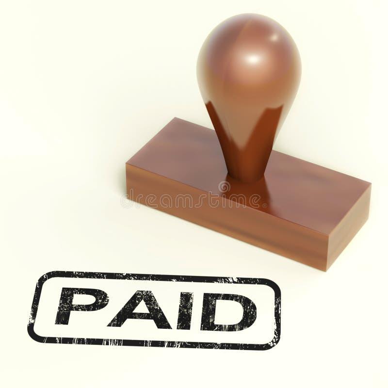 O carimbo de borracha pago mostra a confirmação do pagamento ilustração royalty free
