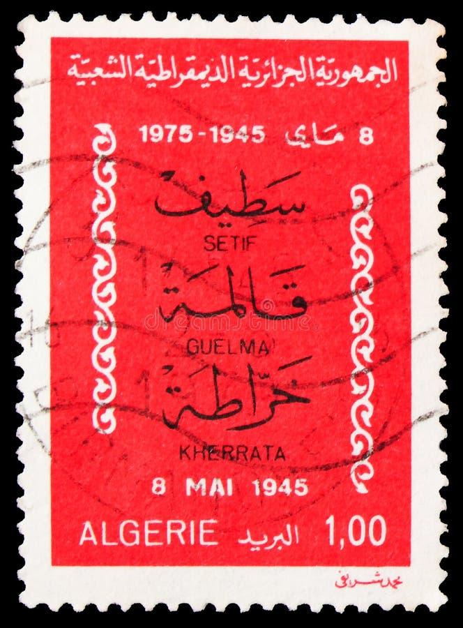 O carimbo postal impresso na Argélia mostra Setif, Guellma, Kherrata, 30º aniversário da série de rebeliões, 1 - dinar argelino, imagens de stock royalty free