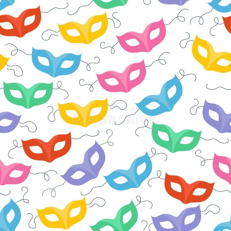 O carnaval colorido do disfarce mascara sem emenda ilustração stock