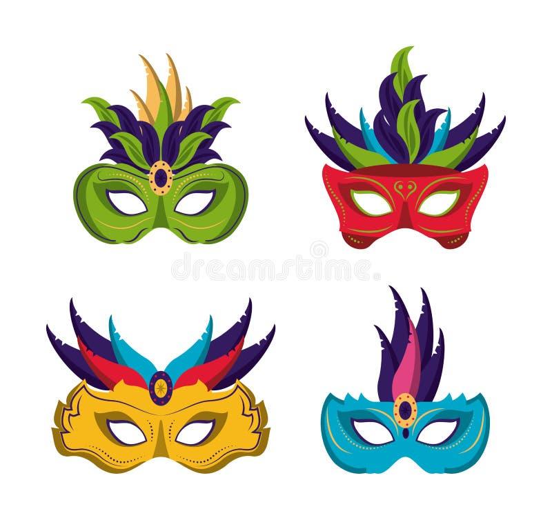 O carnaval mascara ícones ilustração stock