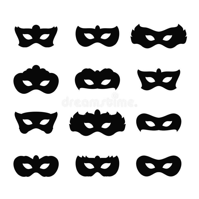 O carnaval mascara ícones ilustração royalty free