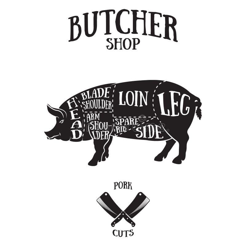 O carniceiro corta o esquema da carne de porco ilustração do vetor