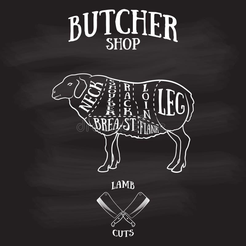O carniceiro corta o esquema do cordeiro ou da carne de carneiro ilustração do vetor