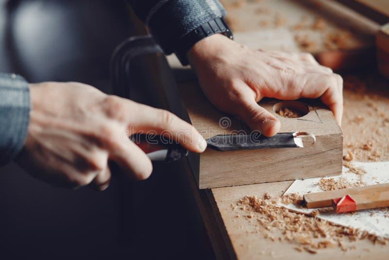 O carpinteiro trabalha com uma ?rvore foto de stock royalty free