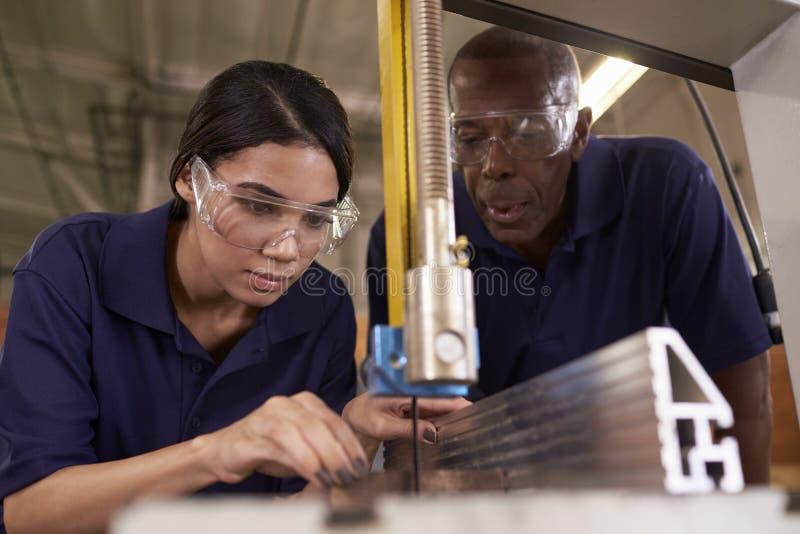 O carpinteiro Training Female Apprentice ao uso mecanizado viu imagens de stock royalty free