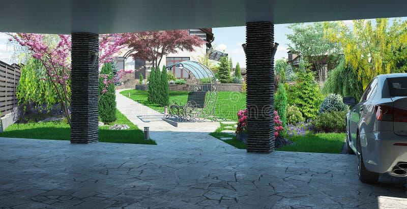 O Carport dentro da vista, ajardinando 3D rende fotografia de stock royalty free
