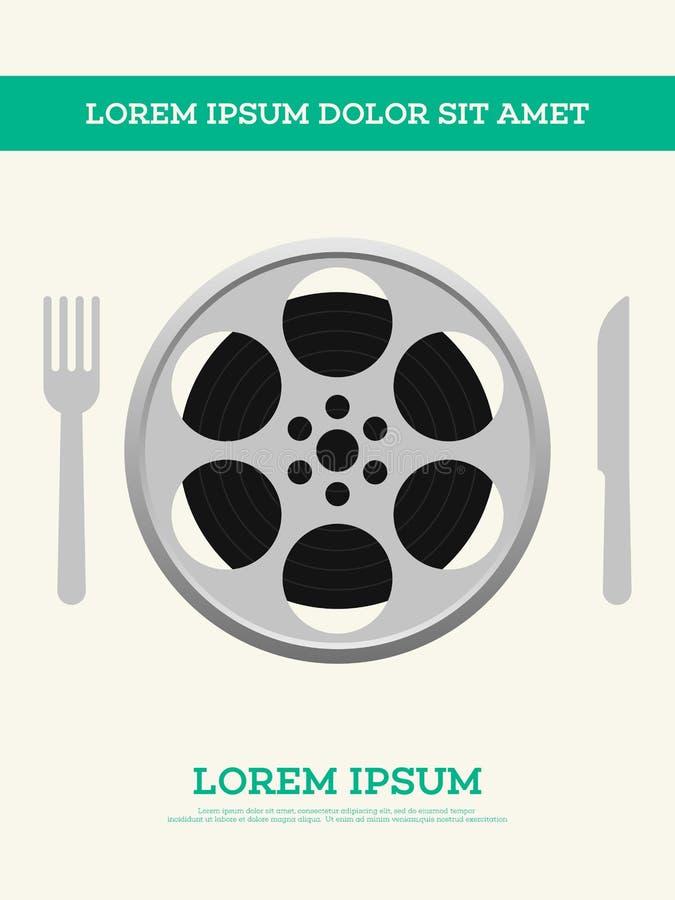 O carretel de filme do filme e o cartaz do vintage do diafilme vector a ilustração ilustração do vetor