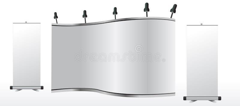 O carrinho de comércio em branco da exposição e rola acima ilustração do vetor