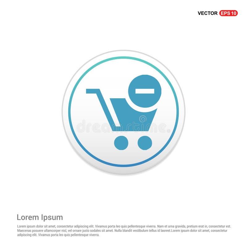 O carrinho de compras e a supressão assinam - o botão branco do círculo ilustração do vetor