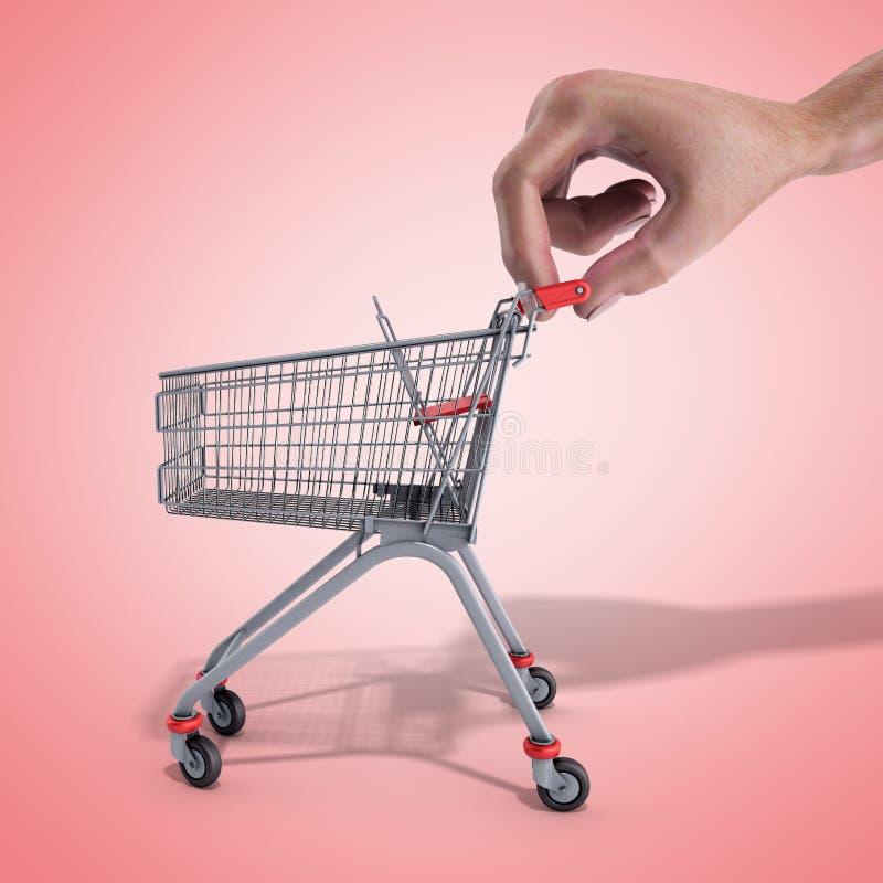 O carrinho de compras em uma mão 3d rende sobre o fundo cor-de-rosa imagens de stock royalty free