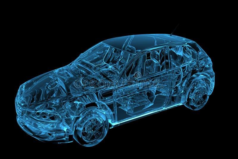 O carro 3D tornou o raio X azul ilustração royalty free