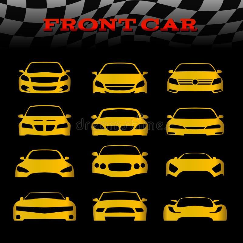 O carro amarelo do corpo dianteiro e as bandeiras quadriculado vector a cenografia ilustração royalty free