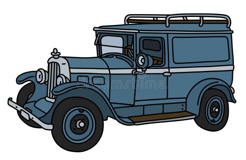 O carro azul do serviço do vintage ilustração do vetor