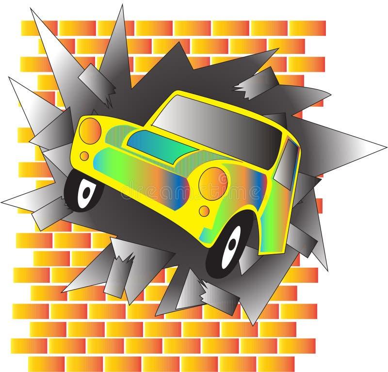 O carro bateu a parede ilustração stock