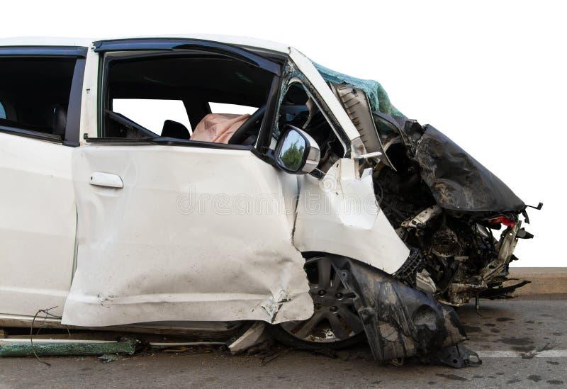 O carro branco lateral morreu fotografia de stock royalty free