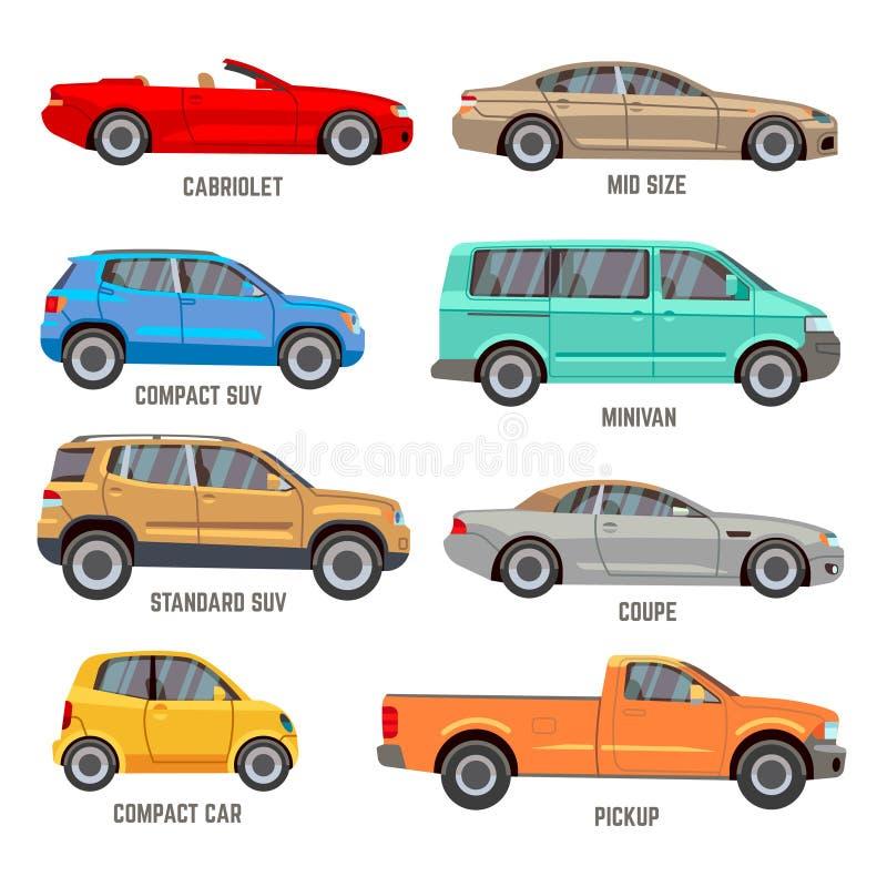 O carro datilografa ícones lisos ilustração royalty free