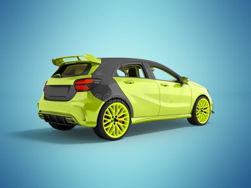 O carro de esportes moderno é leve - o cinza verde 3d que rende o fundo não azul com sombra imagens de stock