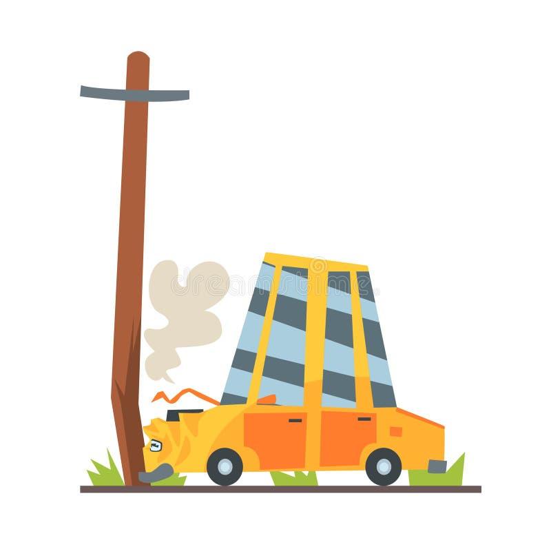 O carro deixou de funcionar no cargo da rua, ilustração colorida do vetor do caráter do acidente de trânsito ilustração royalty free