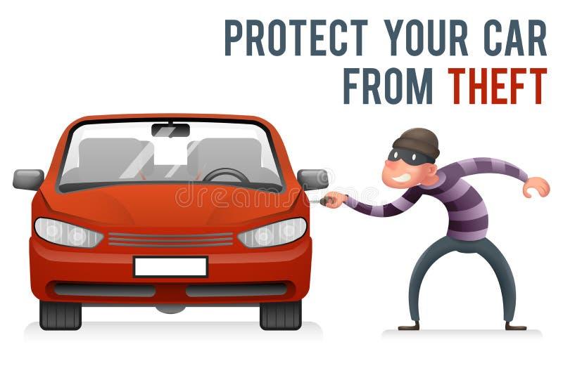 O carro do automóvel rouba o vetor do molde do projeto dos desenhos animados do ícone do caráter da bolsa de Robber Thief Robbery ilustração do vetor