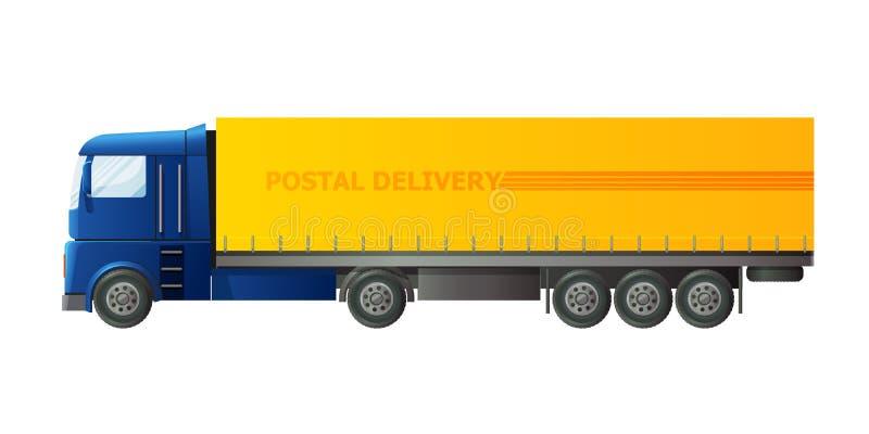 O carro do carteiro, com pacote e lote postais das letras, envelopes ilustração do vetor