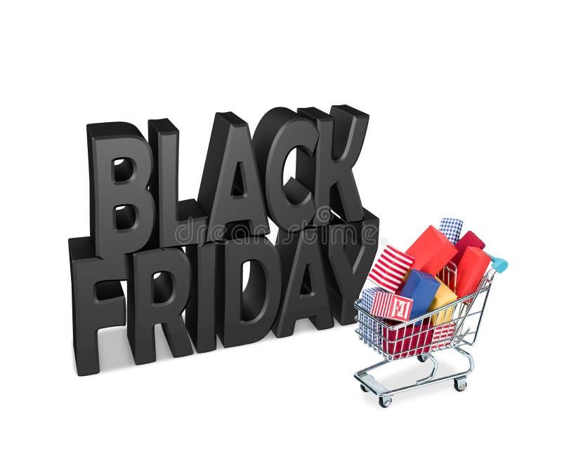 O carro do transporte encheu-se com os pacotes de uma venda de Black Friday fotos de stock