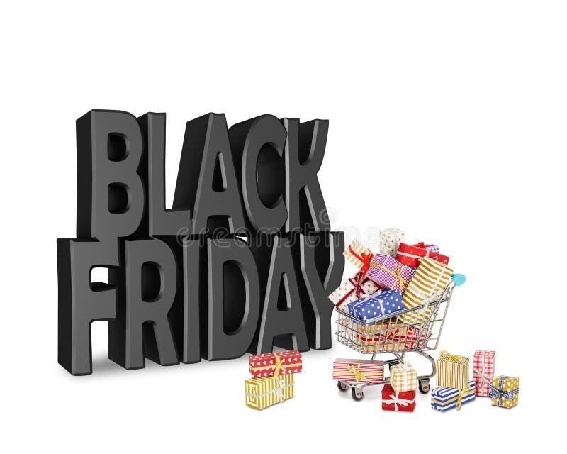 O carro do transporte encheu-se com os presentes de uma venda de Black Friday fotografia de stock royalty free
