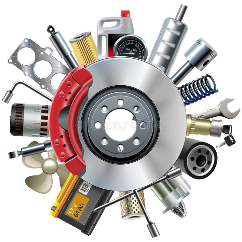 O carro do vetor poupa o conceito com freio de disco ilustração do vetor