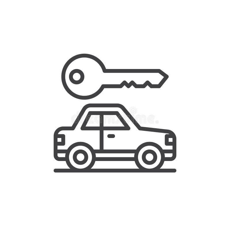 O carro e a chave alinham o ícone, sinal do vetor do esboço, pictograma linear do estilo isolado no branco ilustração royalty free