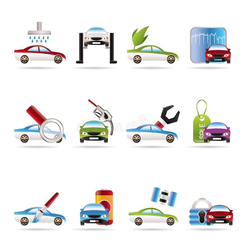O carro e o automóvel prestam serviços de manutenção ao ícone ilustração stock