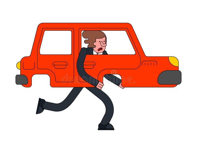 O carro está andando o pé auto com pés ilustração royalty free