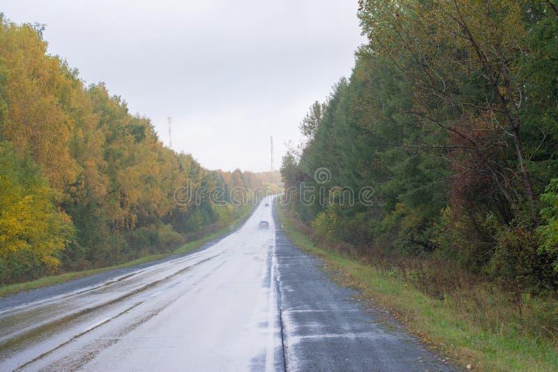 O carro está indo em uma estrada molhada fotografia de stock royalty free