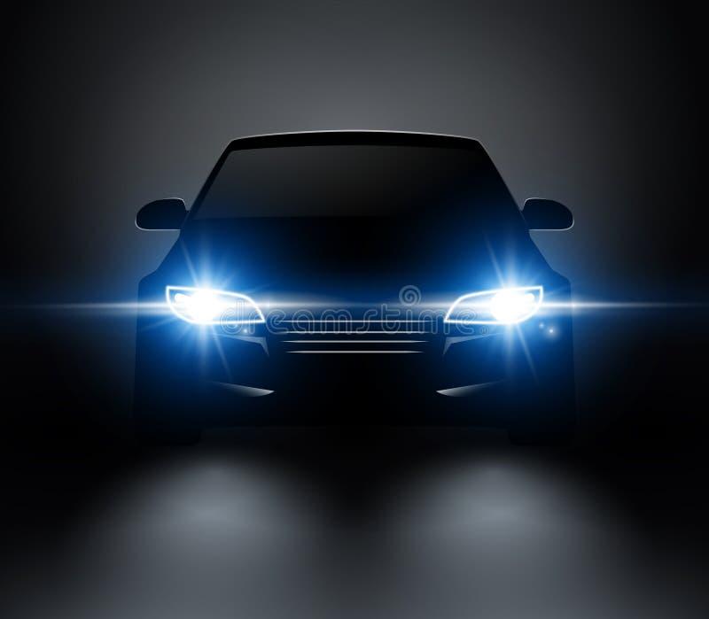 O carro ilumina a opinião dianteira realística da silhueta Faróis do carro do vetor do automóvel na escuridão ilustração do vetor