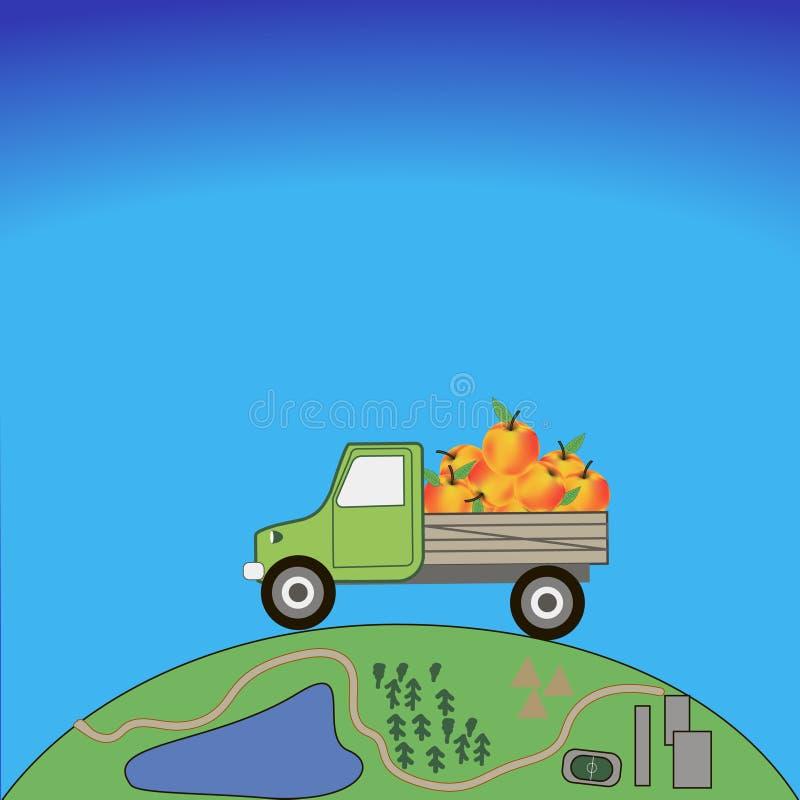 O carro leva maçãs ilustração stock