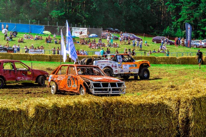 O carro luta em um dia de verão no grande prado perto da floresta fotografia de stock royalty free